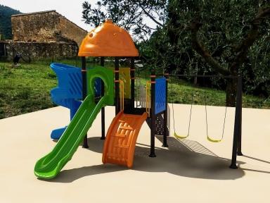 Уличный детский игровой комплекс с качелями и горками  ИК-032