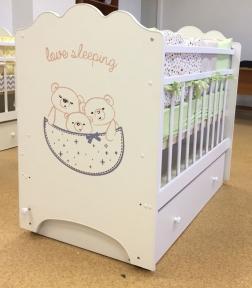 Детская кроватка Love Sleeping с маятником, с ящиком белый