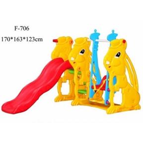 Пластиковая детская горка с качелей 170*163*123см
