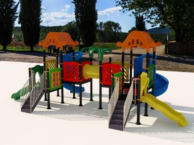 Уличный детский игровой комплекс с качелями и горками  ИК-003