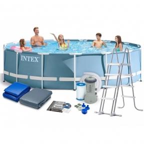 Каркасный бассейн 457х122см, Intex 28242, фильтр насос 3785 л/ч, лестница, тент, подстилка