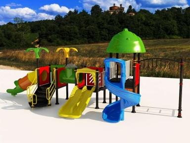 Уличный детский игровой комплекс с качелями и горками  ИК-015