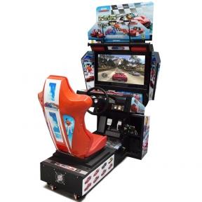 Аттракцион для детских развлекательных игровых центров. Монетный детский гоночный игровой автомат для игрового зала. Симулятор вождения.