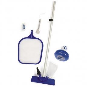 Набор для чистки бассейна, 7 предметов: сачок, щётка, дозатор, термометр, тест-полоски, ремкомплект, ручка 172 см Bestway