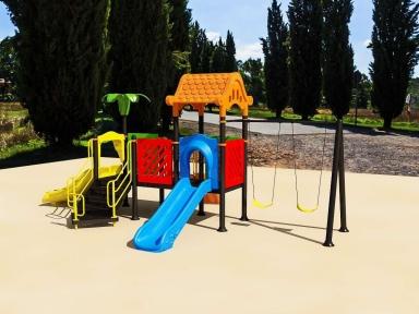Уличный детский игровой комплекс с качелями и горками  ИК-027
