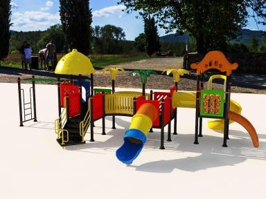 Уличный детский игровой комплекс с качелями и горками  ИК-007