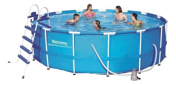 Каркасный бассейн BestWay, 457х122 см, 16015 л.,фильтр-насос 3028л/ч, тент, лестница , подстилка