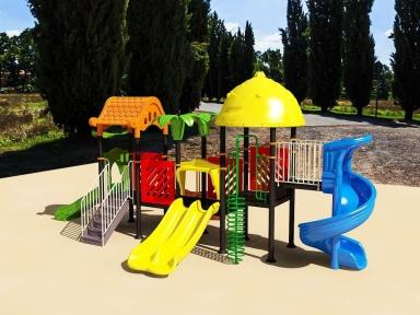 Уличный детский игровой комплекс с качелями и горками  ИК-028