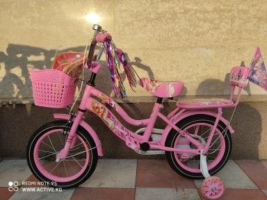 Детский двухколесный велосипед с подпорками 14'' для девочек