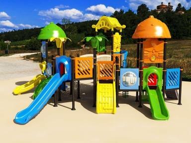 Уличный детский игровой комплекс с качелями и горками  ИК-033