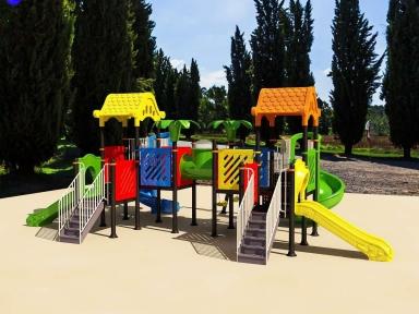 Уличный детский игровой комплекс с качелями и горками  ИК-029
