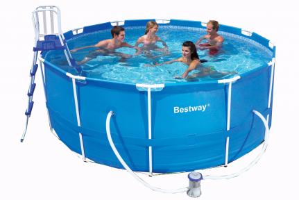 Каркасный BestWay бассейн 366х122 см, 10250л, фильтр-насос 2006л/ч, тент, лестница, подстилка