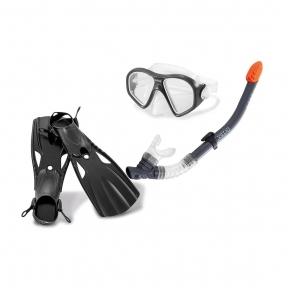 Набор для плавания (маска, трубка, ласты) 3 в 1  INTEX Reef Rider Sports Set 14+  (Черный)