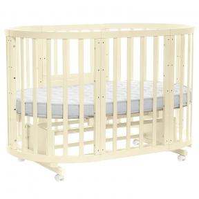 Кроватка-трансформер круглая Слоновая Кость