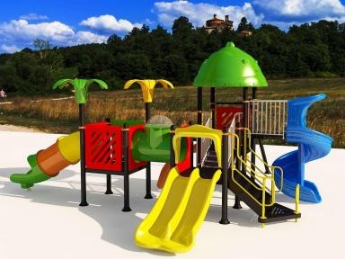 Уличный детский игровой комплекс с качелями и горками  ИК-016