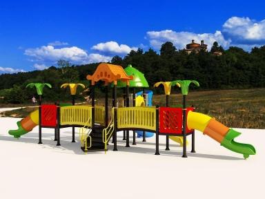 Уличный детский игровой комплекс с качелями и горками  ИК-017