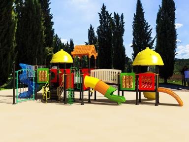 Уличный детский игровой комплекс с качелями и горками  ИК-026