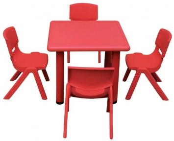 Квадратный красный детский стол 60х60х48 см